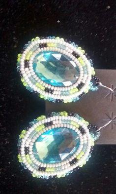 Beaded earrings with Rhinestone center $25 p/s