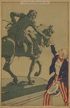 Uncle Sam shaking hands with the marquis de Lafayette (1757-1834)