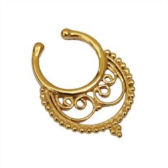 Indian style Fake gold Septum Ring. Indian by Umanativedesign
