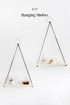 DIY Hanging Shelves -- a decor tutorial from Why Don't You Make Me. Such a cute…