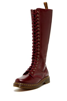 """1B60 Rivet Lace-Up Zip Boot in shiraz by Dr. Martens $180 - $105 @HauteLook. - Round toe - Lace-up vamp - Side zip closure - Back pull tab - Approx. 15"""" shaft height - Approx. 1"""" heel - Leather upper, manmade sole"""