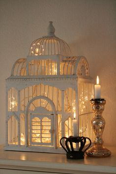 Bird Cage decorated with Christmas lights. The prettiest idea for a birdcage that I've seen to date. (no source as I found this on one blog after another that did not source the origin)