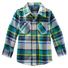 Plaid Button-Front Shirt green