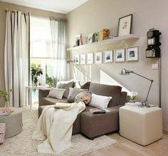 aménagement petit salon de couleur taupe