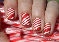 Candy Cane Manicure Nails - Sally Hansen Salon Effects Nails Polish, Red Nails, Hair And Nails, Xmas Nails, Red Polish, Holiday Nail Art, Christmas Nail Art, Christmas Candy, Christmas Design