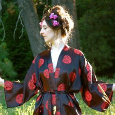 Silk Kimono Jacket// Asian Jacket// Black and Red// by AstralBoutique, $38.00