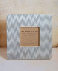 Blue Chevron Wood Picture Frame by TwoHandsDesigns on Etsy, $15.00
