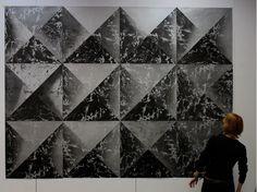 Marta Banaszak FOUNDATION AND EMPIRE large linocut composition in silver gray black Printmaking, Empire, Composition, Foundation, Louvre, Photo Wall, Gray, Building, Silver