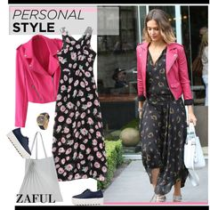 I honestly think this is a very sloppy look -- but I pinned it because I like the dress -- I would just accessorize it differently [Zaful 9 by paculi on Polyvore featuring Sabrina Zeng and zaful]
