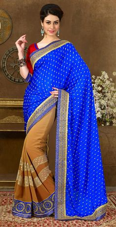 USD 60.38 Blue Georgette Wedding Saree 43587