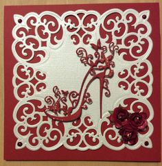 Spellbinders Victorian Medallion Three, Tattered Lace High Heel Glam Homemade Greeting Cards, Homemade Cards, Tattered Lace Cards, Dress Card, Spellbinders Cards, Birthday Cards For Women, Beautiful Handmade Cards, Die Cut Cards, Handmade Greetings