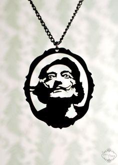 Salvador Dali homage silhouette necklace portrait by FableAndFury