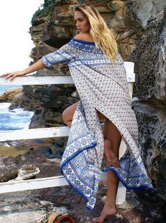0ead53ae6c96f White Off the Shoulder Flare Sleeves ethnic Print Side Slit Boho Dress  Women Style and fashion