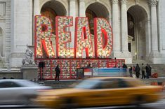 New York Public Library created a 26-ft tall by 40-ft wide display that spelled out the word using 25,000 Dr. Seuss books.
