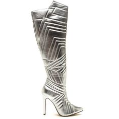 Quilted Wonder Metallic Boots SILVER ($35) ❤ liked on Polyvore featuring shoes, boots, knee-high boots, metal, high heels stilettos, side zip boots, silver stilettos, knee high boots and knee high stiletto boots