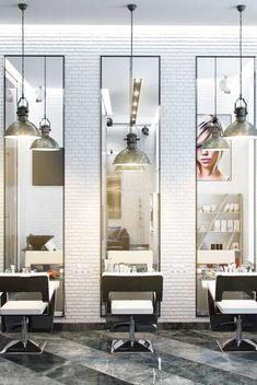 Nail Salon Design, Salon Interior Design, Salon Styling Chairs, Salon Stations, Hair Salon Interior, Beauty Salon Decor, Hair Shop, Boutique Homes, Interior Architecture