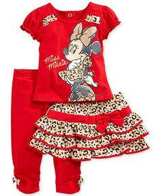 Nannette Baby Girls' 3-Piece Minnie Mouse Shirt, Skirt & Leggings Set