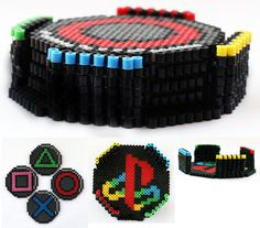 Porta copos - PlayStation Drink Coasters with Container perler beads by ThePlayfulPerler on deviantart Perler Bead Designs, Hama Beads Design, Diy Perler Beads, Perler Bead Art, Pearler Beads, Pixel Beads, Fuse Beads, Fuse Bead Patterns, Perler Patterns
