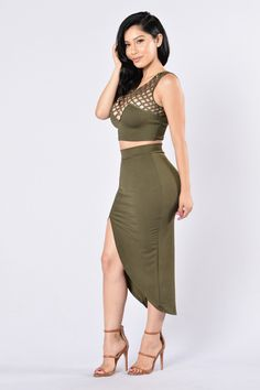 Available in Black and Olive 2 Piece Set Lattice Detail Cropped Surplice Back Detail Midi Length Front Slit Sold as a Set Made in USA 95% Polyester, 5% Spandex