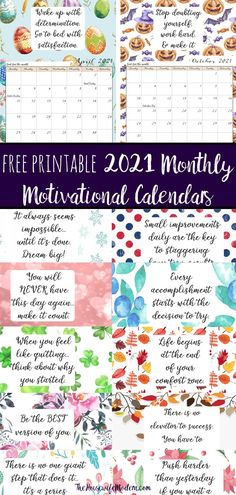 FREE Printable 2021 Monthly Motivational Calendars. Space for setting goals, different motivational quote each month, holidays marked. Get motivated and organized with this free printable calendar. Kids Calendar, Calendar Design, 2021 Calendar, Calendar Journal, December Calendar, Calendar Ideas, Monthly Planner Printable, Printable Calendar Template, Free Printables
