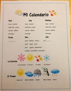 Debbie's Spanish Learning: Mi Calendario {Teaching Dates, Seasons, and Weather with a Free Printable}