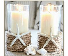 Starfish ,rope, nautical vases. 8 inches in height. Candle not included. Set of 10!!!