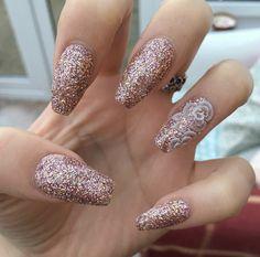 Rose Gold Glitter With Flower