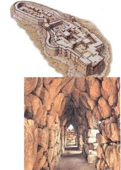 NAME: Palace of Tiryns,  LOCATION: Greece,  DATE: 1300 BCE (Late Helladic/Mycenaean Period),  FUNCTION: defensive citadel,  CULTURE: Mycenaean,  MATERIALS: stones,  TECHNIQUES: corbeled galleries, megalithic cyclopean masonry,  NOTABLE: megaron is central