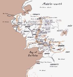 Map of Middle-earth from the 2nd to 4th Ages