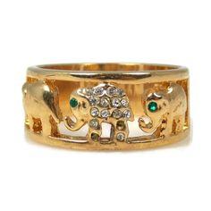 Crystal Elephant Ring Band Gold Plated Size 10 Marked SETA by TheFashionDen on Etsy