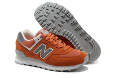 Online Sale Of New Balance WL574VOW Womens Orange Grey White Shoes