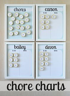 """Easy DIY Kid's Chores Chart. Instead of plain wood """"markers"""", use little tins that can have a small treat in them. When they complete the chore, they get the treat. (Treat could be stickers or Squinkies or candy or a coin...instant allowance.)"""