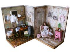 Zwei Dioramen, OOAK, Satz / Jahrgang Interieur, alte Zimmer...