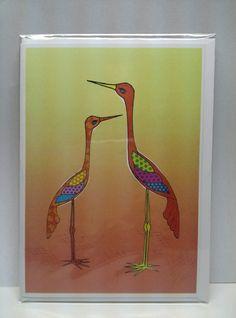 Two tall birds 5x7 greeting card #hollyddesigns #illustration #greetingcard #bird visit facebook.com/hollyddesigns