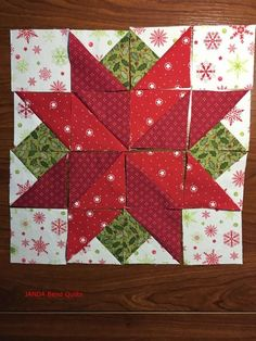 vikki posted Block 7 is here in the I Wish You a Merry Quilt-A-Long, and it is Poinsettia by Sandy Maxfield! This is a super fun block made with half square triangles. You to their -quilting fever- postboard via the Juxtapost bookmarklet. Christmas Patchwork, Christmas Blocks, Christmas Quilt Patterns, Star Quilt Patterns, Christmas Sewing, Pattern Blocks, Christmas Crafts, Christmas Quilting, Christmas Wood