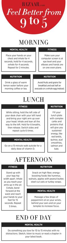 How to get more energy throughout the day and feel better in the office. Follow this healthy daily routine: