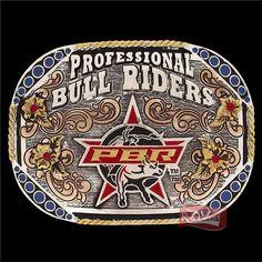 Fivela PBR Professional Bull Riders c/ Strass e Banho Dourado / Prata / Cobre: Mulheres