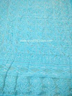 Blue Lucknowi Chikankari Suit with Golden Mukaish/ Badla Work (Kurta and Dupatta)