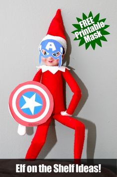 Elf on the Shelf Captain America Mask!  Get tons of great Elf on the Shelf Ideas! on this blog!