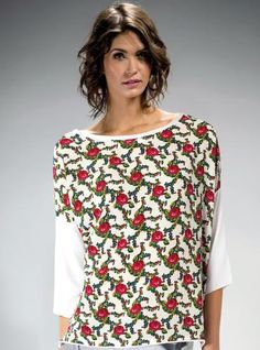 Bluzka góralska biała    ::  Bluzkatypuoversize, z ludowym motywem w nowoczesnej formie. Ma białe rękawy i tył. Przód zdobią efektowne kwiaty inspirowane stylem góralskim.   ::  http://www.mapepina.pl/ubrania-w-stylu-folk/bluzka-goralska-biala.html ::   #bluzki #góralskamoda #ciuchy #folk #moda #fashion