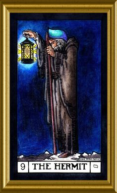 One of my personal favorites.The Hermit. Divination Cards, Tarot Cards, Tarot Major Arcana, Tarot Learning, Fortune Teller, Oracle Cards, Tarot Decks, Lovely Things, Christian