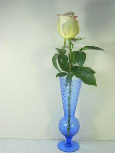 Vintage Vase in COBALT BLUE Honeycomb Glass by LavenderGardenCottag