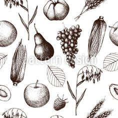 Vector seamless pattern with ink hand drawn thanksgiving day. Vector Pattern, Pattern Design, Fall Fruits, Background Vintage, Fall Harvest, Free Vector Art, Botanical Illustration, Warm Colors, Vintage Designs
