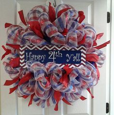 4th of July Deco Mesh Wreath Red White and by CarolinaMoonDecor, $45.00