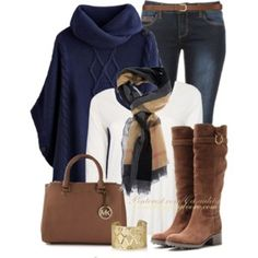 Burberry Haymarket & Navy Poncho Sweater