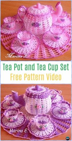 Crochet Teapot and Tea Cup SetFree Pattern Video - Crochet Teacup Patterns
