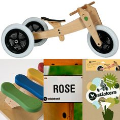 Wishbone Bike with stickers, seat cover and name plate - LOVE the versatility of these bikes.