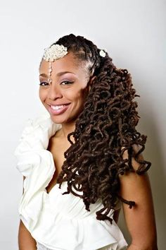 Bridal Looks: Locs were set on pipe cleaners to achieve this spiral curl