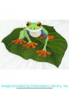 Stickmotiv Stickbild Aufnäher Stickerei Emblem Frosch  Frosch /  Stickerei Rainforest Baby - Tree Frog (C3592)