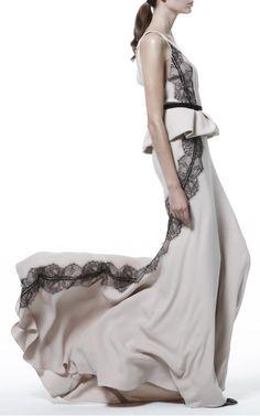 Deep V Draped Peplum Gown by J. Mendel